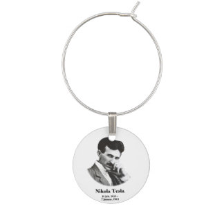 Young Tesla Wine Glass Charm