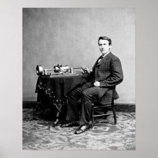 Young Thomas Edison and his Phonograph Machine Print