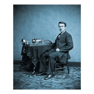 Young Thomas Edison and his Phonograph Machine Posters