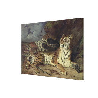 Young tiger playing with his mother, 1830 (oil on canvas print