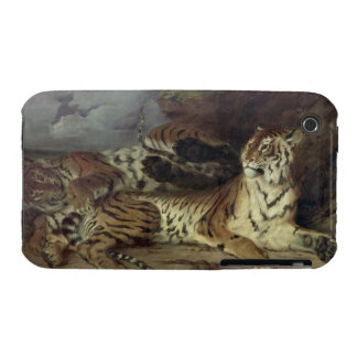 Young tiger playing with his mother, 1830 (oil on iPhone 3 case