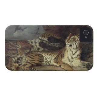 Young tiger playing with his mother, 1830 (oil on iPhone 4 Case-Mate case