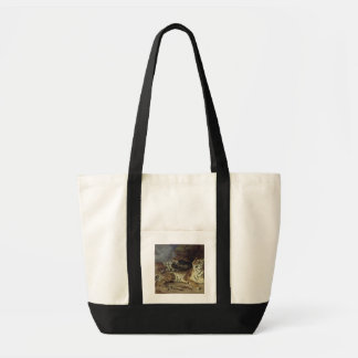 Young tiger playing with his mother, 1830 (oil on tote bag