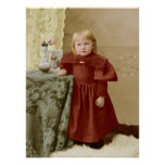 Young Toddler Victorian Girl Tinted Poster