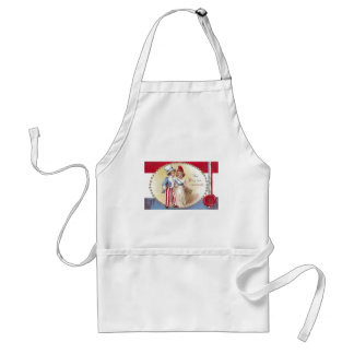 Young Uncle Sam Escorts Columbia on 4th of July Adult Apron