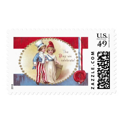 Young Uncle Sam Escorts Columbia on 4th of July Postage Stamps