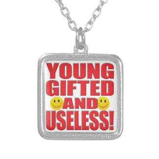 Young Useless Life Square Pendant Necklace