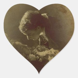 Young Vampires in Love Heart Sticker