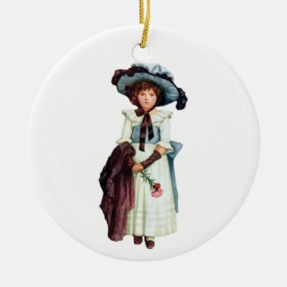 Young Victorian Girl Illustration Christmas Tree Ornaments