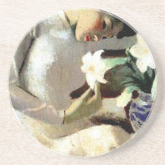 Young Vietnamese Woman with Lily Sandstone Coaster