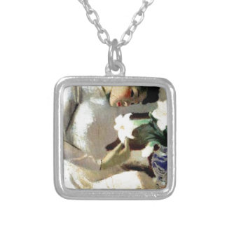 Young Vietnamese Woman with Lily Silver Plated Necklace