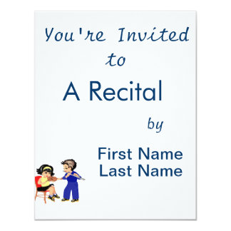 """young violin n flute players graphic.png 4.25"""" x 5.5"""" invitation card"""