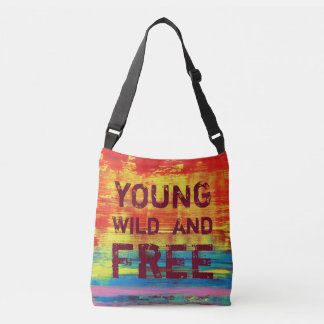 Young Wild and Free - Sunny Red Abstract Art Crossbody Bag