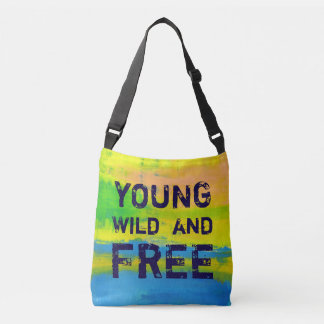 Young Wild and Free - Sunny Yellow Abstract Art Crossbody Bag