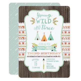 Young, Wild, and Three Boy Birthday Invitations