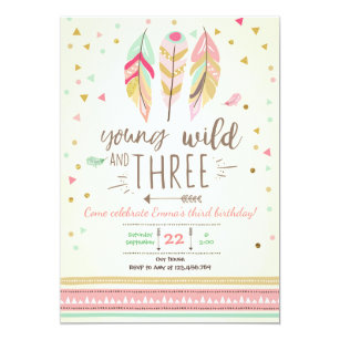 3rd birthday invitations zazzle young wild and three invite girl pink gold 3rd filmwisefo