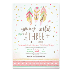 Third birthday invitations announcements zazzle young wild and three invite girl pink gold 3rd filmwisefo Images