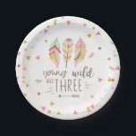 """Young wild and three Paper Plates Pink Gold 3rd<br><div class=""""desc"""">♥ A perfect addition to your party! Young wild and three theme.</div>"""