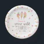 "Young wild and three Paper Plates Pink Gold 3rd<br><div class=""desc"">♥ A perfect addition to your party! Young wild and three theme.</div>"