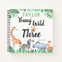 Young Wild And Three Safari 3rd Birthday Guest Notebook