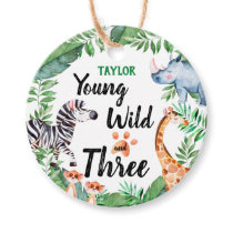 Young Wild And Three Safari 3rd Birthday Party Favor Tags