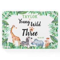 Young Wild And Three Safari 3rd Birthday Party Guest Book