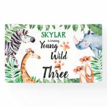 Young Wild and Three Safari Animal 3rd Birthday Banner