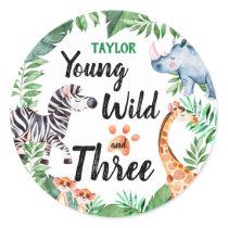 Young Wild and Three Safari Animal 3rd Birthday Classic Round Sticker