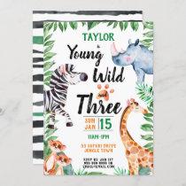 Young Wild and Three Safari Animal 3rd Birthday Invitation