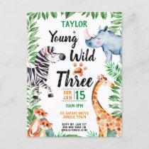 Young Wild and Three Safari Animal 3rd Birthday Invitation Postcard