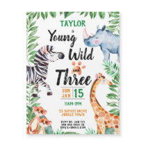 Young Wild and Three Safari Animal 3rd Birthday Magnetic Invitation