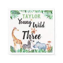 Young Wild and Three Safari Animal 3rd Birthday Napkins