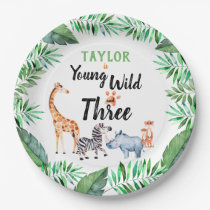 Young Wild and Three Safari Animal 3rd Birthday Paper Plate