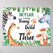 Young Wild and Three Safari Animal 3rd Birthday Poster