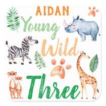 Young Wild and Three Safari Animal 3rd Birthday Square Sticker