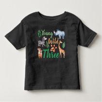 Young Wild and Three Safari Animal 3rd Birthday Toddler T-shirt
