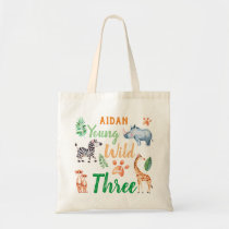 Young Wild and Three Safari Animal 3rd Birthday Tote Bag