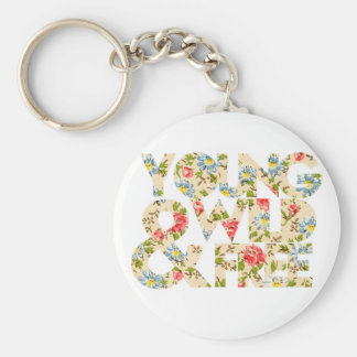 Young Wild & Free Floral Graphic Keychain