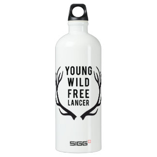 young, wild, free, freelancer with deer antlers SIGG traveler 1.0L water bottle
