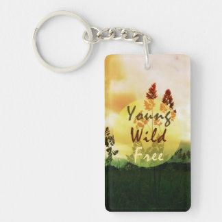 Young Wild Free Single-Sided Rectangular Acrylic Keychain