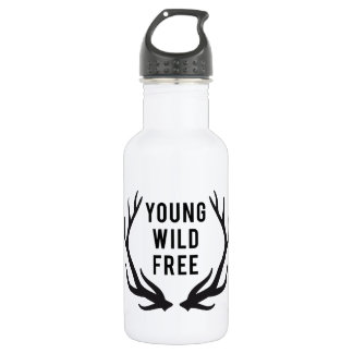 young, wild, free, text design with deer antlers 18oz water bottle