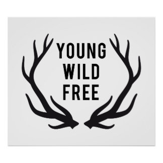young, wild, free, text design with deer antlers poster