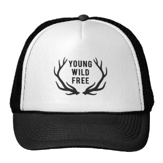 young, wild, free, text design with deer antlers trucker hat
