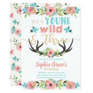 Young Wild Three Birthday Invitation