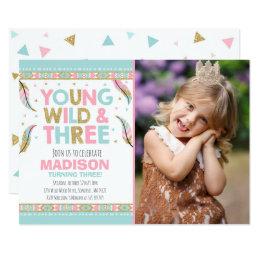 Young Wild & Three Birthday Invitation Wild Party