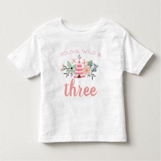 Young, Wild & Three Birthday Toddler T-shirt