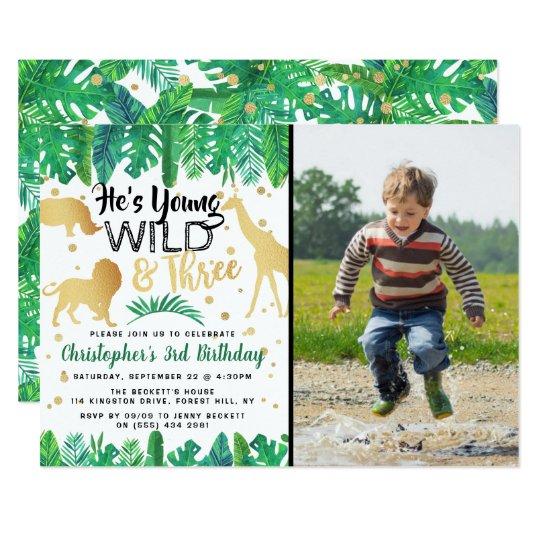 Young Wild Three Boys Third Birthday Invitations