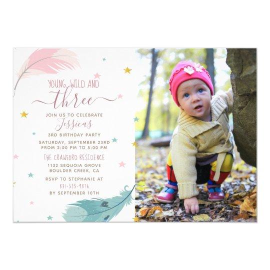 Young Wild Three Custom Photo Baby Girl Birthday Invitation