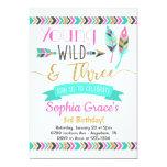 Hand shaped Young Wild & Three Girls Birthday Invitation
