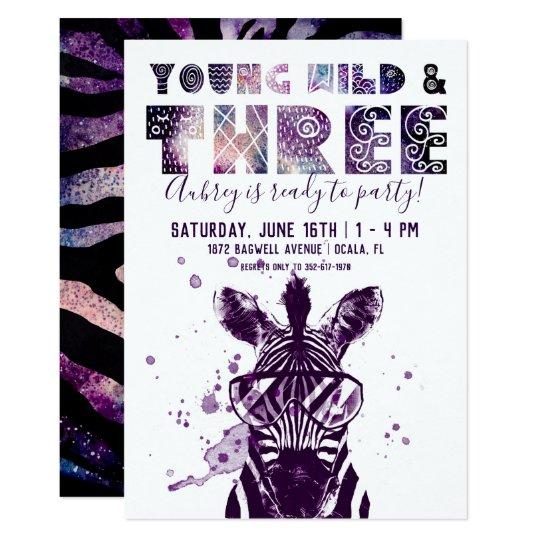 Young Wild Three Rockstar Zebra Invitation Zazzle Com